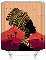 cheap -African Style Black Girl Shower Curtains & Hooks Modern Polyester New Design