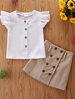 cheap -Kids Girls' Basic Casual Solid Colored Short Sleeve Regular Regular Clothing Set White