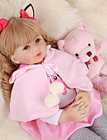 cheap -FeelWind 24 inch Reborn Doll Baby & Toddler Toy Reborn Toddler Doll Baby Girl Gift Cute Lovely Parent-Child Interaction Tipped and Sealed Nails 3/4 Silicone Limbs and Cotton Filled Body LV0105 with