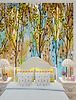 cheap -Home Decoration Custom Self-adhesive Mural Wallpaper Yellow Leaf Forest Children Cartoon Style Suitable For Bedroom