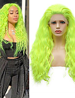 cheap -Synthetic Lace Front Wig Wavy Free Part Lace Front Wig Long fluorescent green Synthetic Hair 18-26 inch Women's Cosplay Soft Adjustable Green