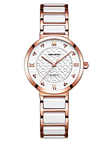cheap -Women's Quartz Watches Luxury Fashion Ceramic Quartz Rose Gold White+Gold White Water Resistant / Waterproof Analog