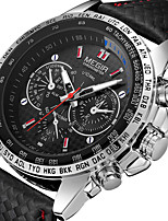 cheap -MEGIR Men's Sport Watch Quartz Modern Style Sporty PU Leather Black 30 m Shock Resistant Noctilucent Casual Watch Analog Outdoor Fashion - White Black Two Years Battery Life / Large Dial