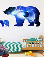 cheap -Cosmic Starry Sky Planet Bear Silhouette Wall Stickers Animal Wall Stickers Decorative Wall Stickers PVC Home Decoration Wall Decal Wall Decoration 1pc