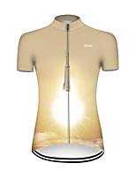 cheap -21Grams Women's Short Sleeve Cycling Jersey Nylon Polyester Khaki 3D Gradient Rocket Bike Jersey Top Mountain Bike MTB Road Bike Cycling Breathable Quick Dry Ultraviolet Resistant Sports Clothing