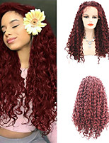 cheap -Synthetic Lace Front Wig Curly Afro Curly Free Part Lace Front Wig Long Burgundy Synthetic Hair 18-26 inch Women's Cosplay Soft Adjustable Burgundy