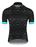 cheap -21Grams Men's Short Sleeve Cycling Jersey Nylon Polyester Black / Blue Plaid / Checkered Patchwork Bike Jersey Top Mountain Bike MTB Road Bike Cycling Breathable Quick Dry Ultraviolet Resistant Sports