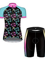cheap -21Grams Women's Short Sleeve Cycling Jersey with Shorts Nylon Polyester Black / Blue Butterfly Gradient Bike Clothing Suit Breathable 3D Pad Quick Dry Ultraviolet Resistant Reflective Strips Sports
