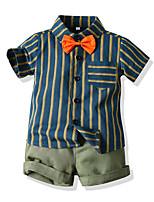 cheap -Kids Toddler Boys' Basic Striped Short Sleeve Clothing Set Light Green