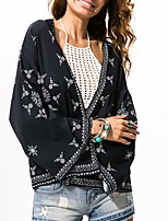 cheap -Women's Blouse Floral Tops V Neck Daily Black One-Size
