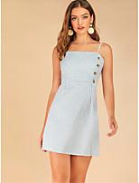 cheap -Women's A-Line Dress Knee Length Dress - Sleeveless Houndstooth Backless Button Summer Elegant Vintage Daily Going out 2020 Light Blue S M L XL