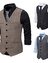 cheap -Gentleman Kingsman Vintage Masquerade Vest Waistcoat Men's Slim Fit Costume Black / Gray / Coffee Vintage Cosplay Event / Party Sleeveless