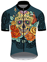 cheap -21Grams Men's Short Sleeve Cycling Jersey Nylon Polyester Black / Orange Skull Floral Botanical Bike Jersey Top Mountain Bike MTB Road Bike Cycling Breathable Quick Dry Ultraviolet Resistant Sports