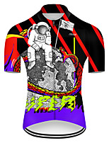 cheap -21Grams Men's Short Sleeve Cycling Jersey Nylon Polyester Black / Red Snake Funny Astronaut Bike Jersey Top Mountain Bike MTB Road Bike Cycling Breathable Quick Dry Ultraviolet Resistant Sports
