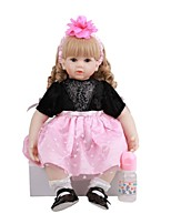 cheap -FeelWind 24 inch Reborn Doll Baby & Toddler Toy Reborn Toddler Doll Baby Girl Gift Cute Lovely Parent-Child Interaction Tipped and Sealed Nails 3/4 Silicone Limbs and Cotton Filled Body LV095 with