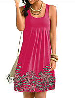 cheap -Women's Strap Dress Knee Length Dress - Sleeveless Print Summer Casual Chinoiserie 2020 White Black Blue Red Gray S M L XL XXL XXXL