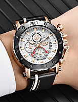 cheap -LIGE Men's Sport Watch Quartz Modern Style Stylish Leather Water Resistant / Waterproof Noctilucent Analog Casual Outdoor - Black / Silver Black+Gloden White+Golden