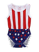cheap -Baby Girls' Basic Flag Sleeveless Romper White