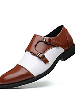 cheap -Men's Summer / Fall Classic / Casual Daily Office & Career Loafers & Slip-Ons Faux Leather Non-slipping Wear Proof Black / Brown Color Block