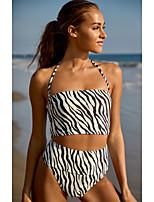 cheap -Women's Halter Briefs Bikini Tankini Swimwear Swimsuit - Striped Backless Quick Dry S M L Rainbow