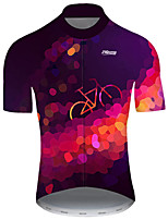 cheap -21Grams Men's Short Sleeve Cycling Jersey Nylon Polyester Violet Polka Dot 3D Gradient Bike Jersey Top Mountain Bike MTB Road Bike Cycling Breathable Quick Dry Ultraviolet Resistant Sports Clothing