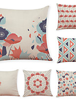 cheap -6 pcs Linen Pillow Cover, Animal Floral Print Leisure Modern Square Traditional Classic