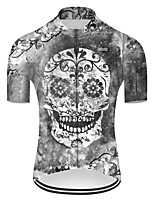 cheap -21Grams Men's Short Sleeve Cycling Jersey Nylon Polyester Grey Novelty Skull Floral Botanical Bike Jersey Top Mountain Bike MTB Road Bike Cycling Breathable Quick Dry Ultraviolet Resistant Sports