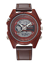 cheap -Men's Sport Watch Japanese Digital Leather Black / Red / Brown Casual Watch Cool Large Dial Analog Fashion Cool - Black Red Brown