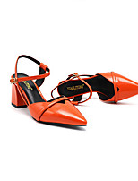cheap -Women's Sandals Summer Block Heel Pointed Toe Daily PU Almond / Black / Orange