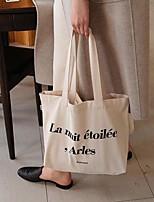 cheap -Women's Canvas Top Handle Bag Canvas Bag Letter Beige
