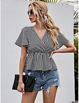 cheap -Women's Blouse Striped Tops V Neck Daily Black XS S M L
