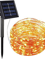 cheap -100 Led Solar String Lights Outdoor String Lights Waterproof Cooper Wire Light Lamp Christmas Holiday Lighting for Outdoor Garden Decor