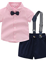 cheap -Kids Toddler Boys' Basic Solid Colored Short Sleeve Clothing Set Blushing Pink