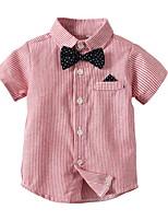cheap -Kids Toddler Boys' Street chic Striped Short Sleeve Shirt Blushing Pink