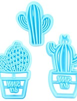 cheap -3pcs Mold Fairy Ball Cake Printing Fondant Mold Pressing Cactus Cake Biscuit Decoration Plastic Mold