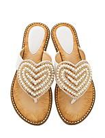 cheap -Women's Slippers & Flip-Flops Summer Flat Heel Open Toe Daily PU Almond / White / Black