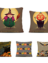 cheap -Set of 5 Throw Pillow Simple Classic 45*45 cm Polyester Pillow Cover Special Design Halloween Square Traditional Classic