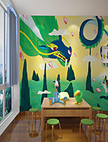 cheap -Art Deco  Home Decoration Custom Self Adhesive Mural Wallpaper Flying Dragon Children Cartoon Style Suitable For Bedroom