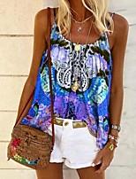 cheap -Women's Blouse Floral Tops Halter Neck Daily Summer Blue Red Yellow S M L XL 2XL 3XL 4XL