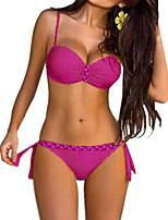 cheap -Women's Plus Size Basic Halter Cheeky Bikini Tankini Swimwear Swimsuit - Color Block Solid Colored Print S M L Blue Yellow Fuchsia Orange