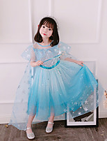cheap -Fairytale Frozen Dress Girls' Movie Cosplay Cosplay European Pink / Blue Dress Children's Day Polyester Cotton