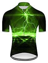 Недорогие -21Grams Муж. С короткими рукавами Велокофты Нейлон Полиэстер Черный / зеленый 3D Lightning Градиент Велоспорт Джерси Верхняя часть Горные велосипеды Шоссейные велосипеды / Слабоэластичная / Дышащий