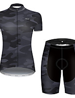cheap -21Grams Women's Short Sleeve Cycling Jersey with Shorts Nylon Polyester Black Patchwork Camo / Camouflage Bike Clothing Suit Breathable 3D Pad Quick Dry Ultraviolet Resistant Reflective Strips Sports