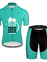 cheap -21Grams Men's Short Sleeve Cycling Jersey with Shorts Nylon Polyester Green 3D Gradient Oktoberfest Beer Bike Clothing Suit Breathable 3D Pad Quick Dry Ultraviolet Resistant Reflective Strips Sports