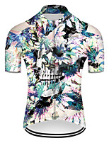 cheap -21Grams Men's Short Sleeve Cycling Jersey Nylon Polyester Blue / White Novelty Skull Floral Botanical Bike Jersey Top Mountain Bike MTB Road Bike Cycling Breathable Quick Dry Ultraviolet Resistant