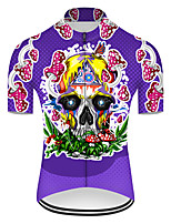 cheap -21Grams Men's Short Sleeve Cycling Jersey Nylon Polyester Violet Novelty Skull Floral Botanical Bike Jersey Top Mountain Bike MTB Road Bike Cycling Breathable Quick Dry Ultraviolet Resistant Sports