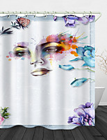 cheap -Watercolor Depicting Beauty Digital Print Waterproof Fabric Shower Curtain for Bathroom Home Decor Covered Bathtub Curtains Liner Includes with Hooks