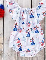 cheap -Baby Girls' Basic Geometric Short Sleeves Romper Blue