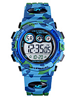 cheap -SKMEI Kids Digital Watch Digital Sporty PU Leather Blue / Green / Navy 30 m Calendar / date / day Chronograph Alarm Clock Digital Outdoor - Blue Green Light Blue One Year Battery Life