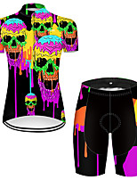 cheap -21Grams Women's Short Sleeve Cycling Jersey with Shorts Nylon Polyester Black / Yellow Gradient Novelty Skull Bike Clothing Suit Breathable 3D Pad Quick Dry Ultraviolet Resistant Reflective Strips